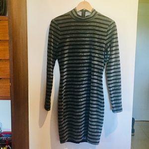 Alexander Wang Grey Black Striped Velveteen Dress